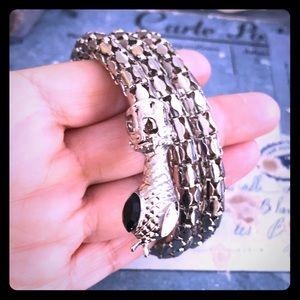 insane silver windup bracelet snake cuff Gothic